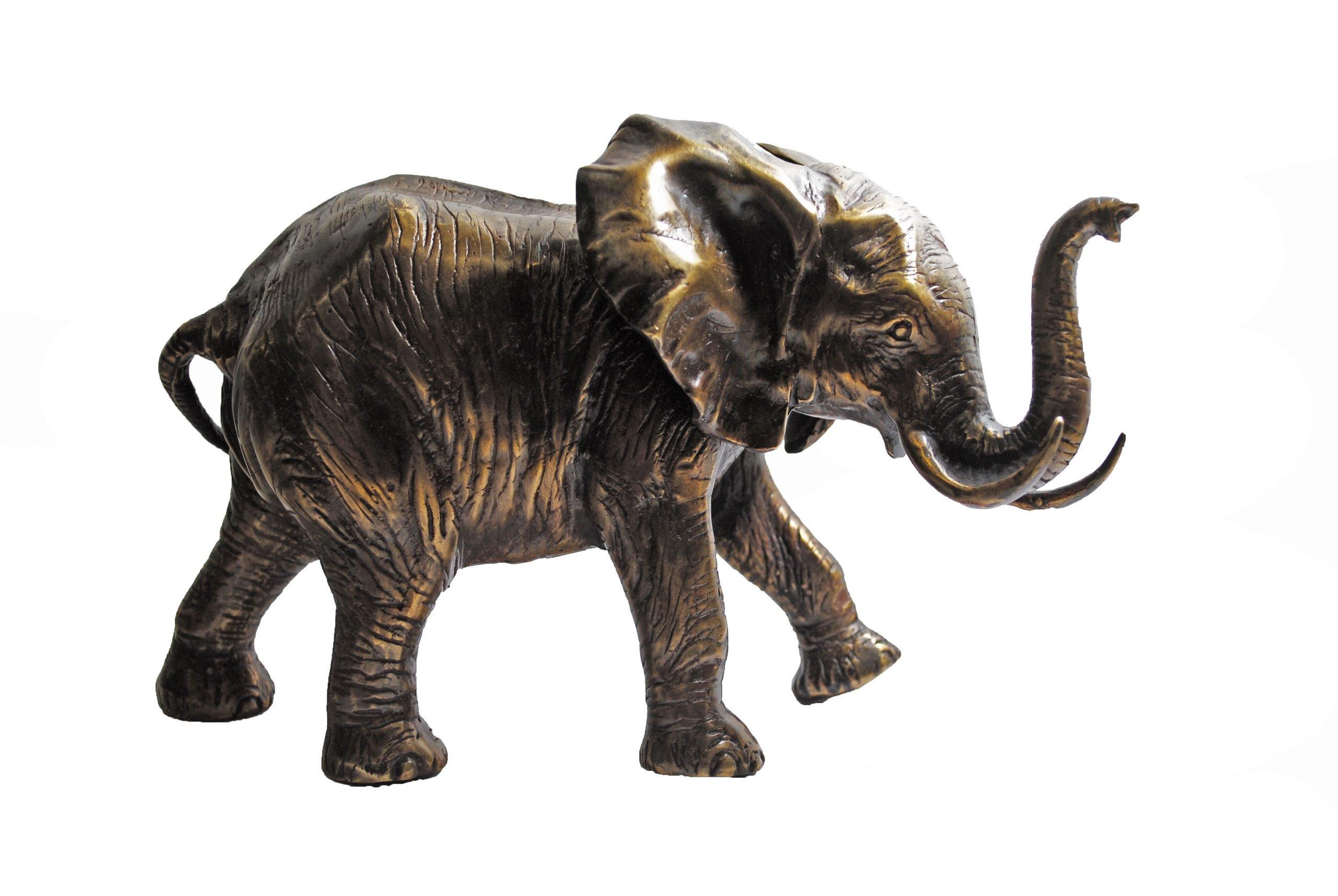 Bronzen Olifant Middel Slurf Omhoog