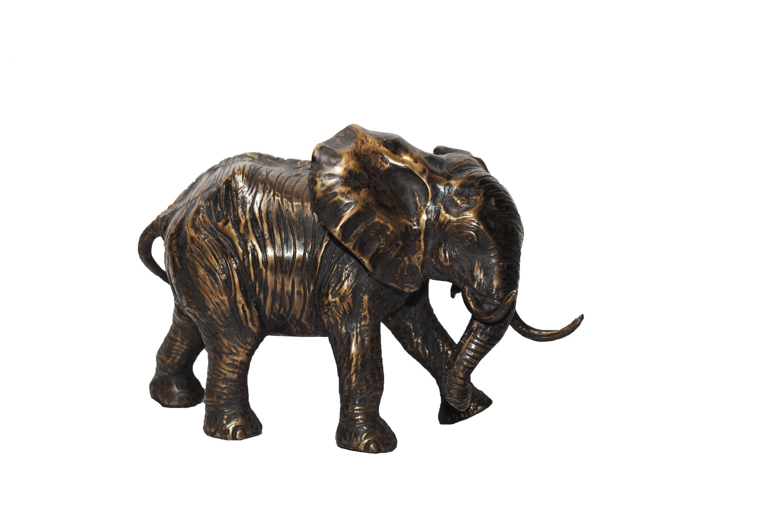 Bronzen Olifant Middel Slurf Omlaag