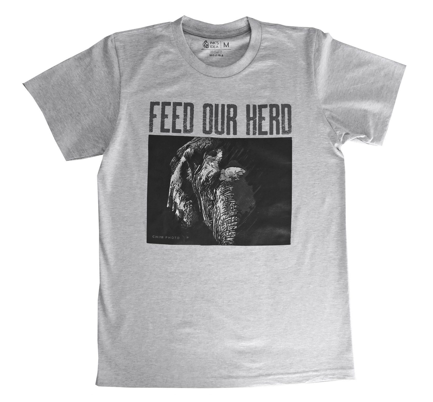 T-shirt Grijs Enkele Olifant Maat L