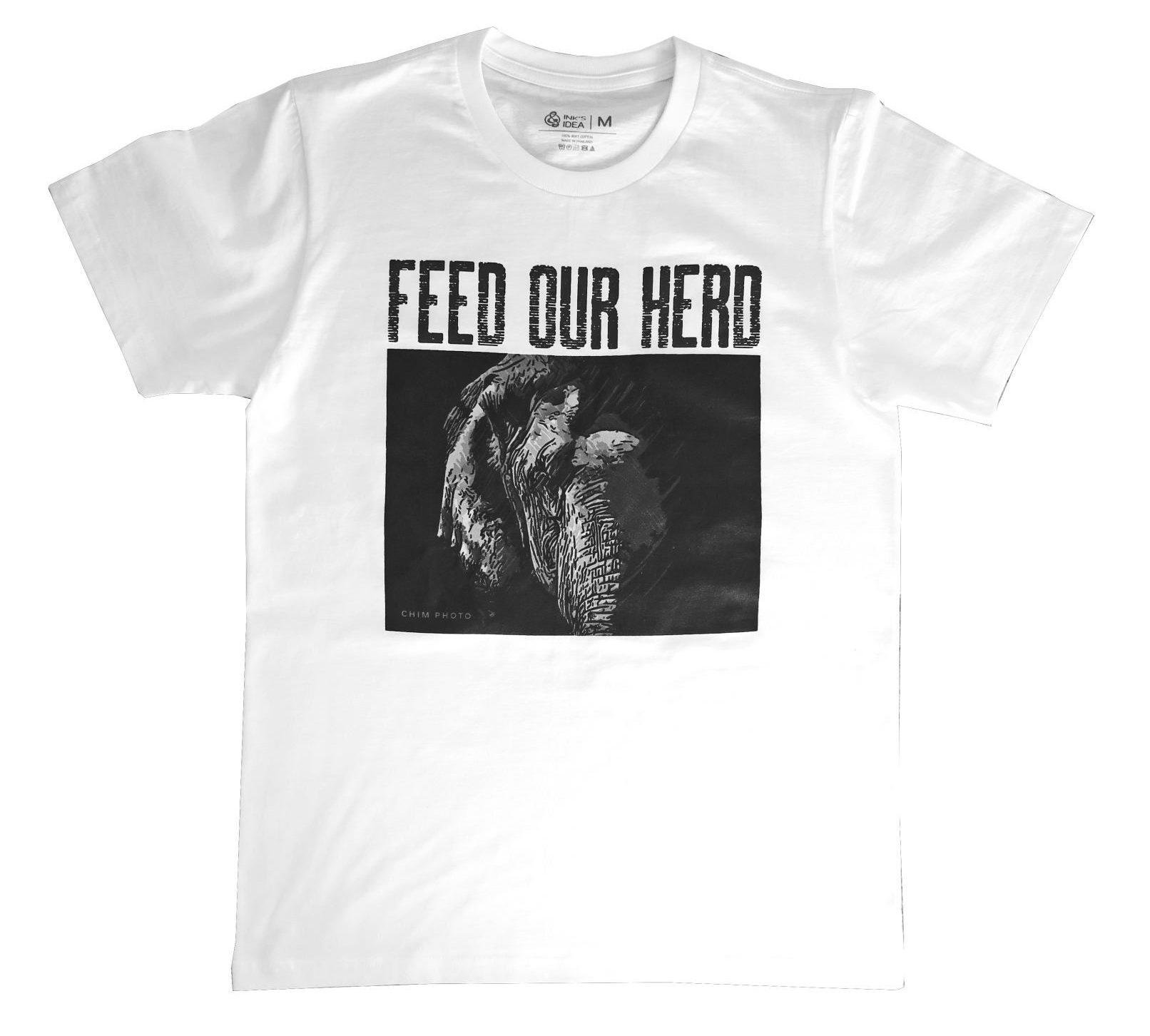 T-shirt Wit Enkele Olifant Maat M